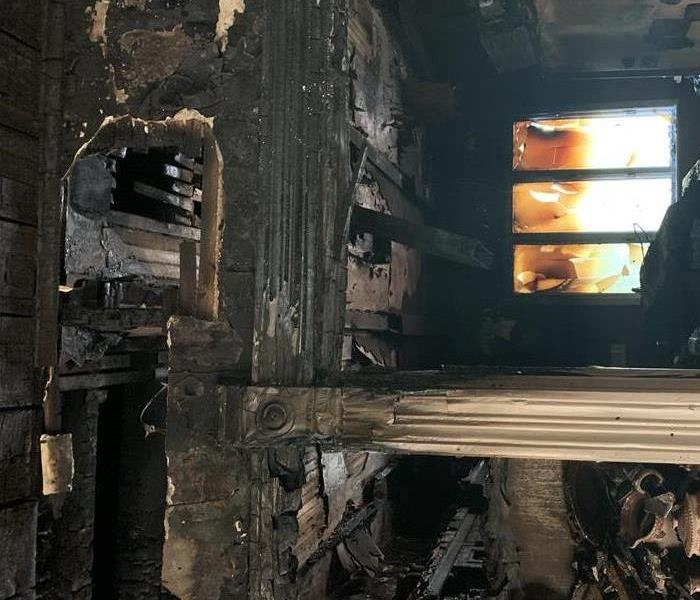 Image of built-in shelf inside this northwest Iowa home after fire ripped throughout the structure.