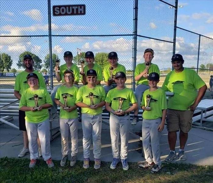 SERVPRO of Spencer & Iowa Great Lakes 2020 Little League team.