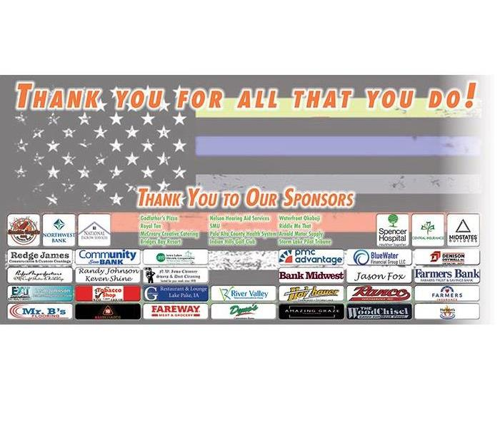 Photo of the sponsors banner for the 1st Annual First Responder Appreciation Golf Event